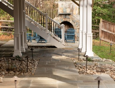 Outdoor Stone Patio Design with Fireplace in Vienna, VA